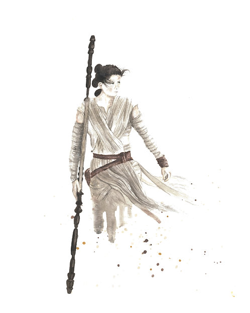 Rey Watercolor Art Print   |   Star Wars