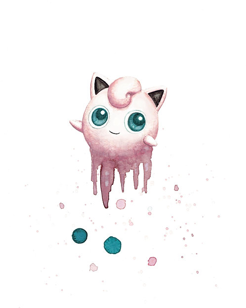 Jigglypuff Watercolor Art Print   |   Pokemon, Nintendo