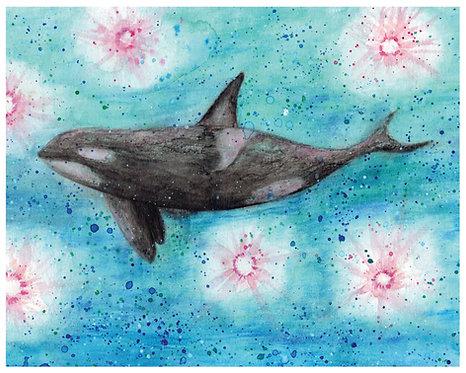 Orca Watercolor Art Print   |   Animals