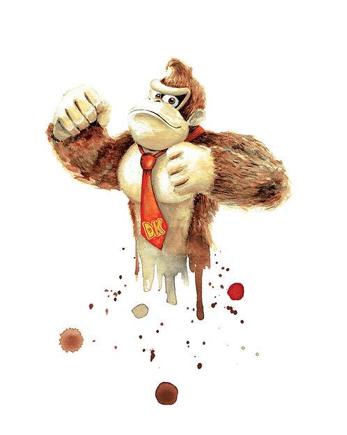 Donkey Kong Watercolor Art Print   |   Nintendo