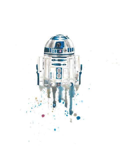 R2-D2 Watercolor Art Print       Star Wars