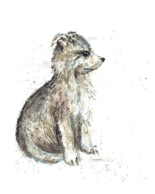 Brown Wolf Watercolor Art Print   |   Animals