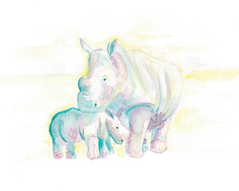 Rhinos Watercolor Art Print   |   Animals