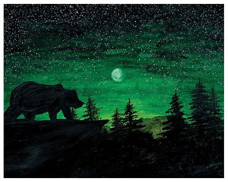 Bear Moon Watercolor Art Print