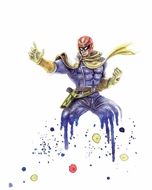 Captain Falcon Watercolor Art Print   |   F-Zero, Nintendo