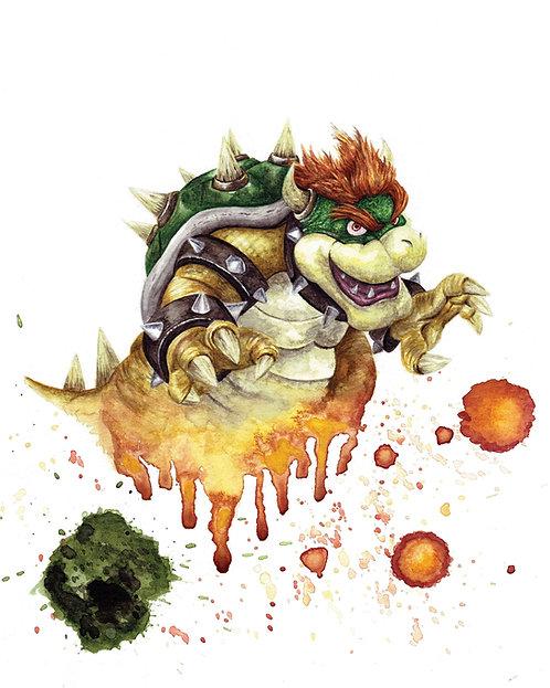 Bowser Watercolor Art Print   |   Super Mario, Nintendo