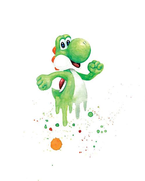 Yoshi Watercolor Art Print   |   Super Mario, Nintendo