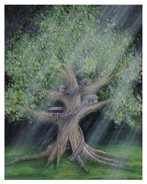 Exiled Seven Treehouse Watercolor Art Print   |    Landscape
