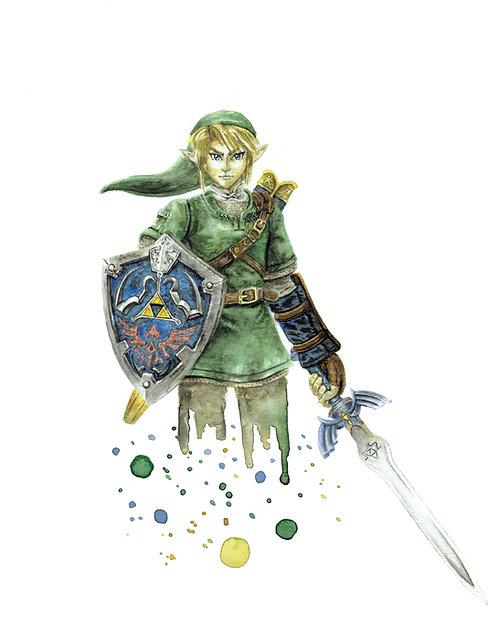 Link Watercolor Art Print   |   Legend of Zelda, Nintendo