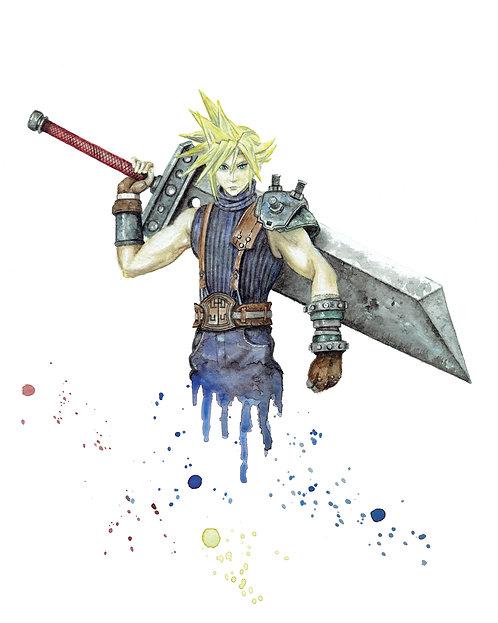 Cloud Strife Watercolor Art Print   |   Final Fantasy