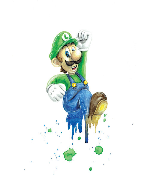 Luigi Watercolor Art Print   |   Super Mario, Nintendo