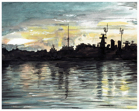 Anne Bonny Sunset Watercolor Art Print   |   Landscape