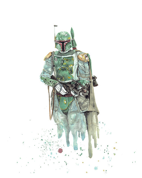 Boba Fett Watercolor Art Print   |   Star Wars