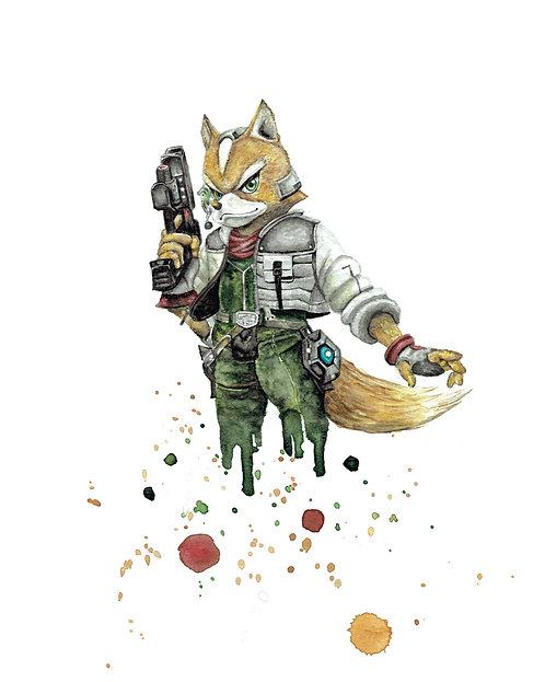 Fox McCloud Watercolor Art Print   |   Starfox, Nintendo