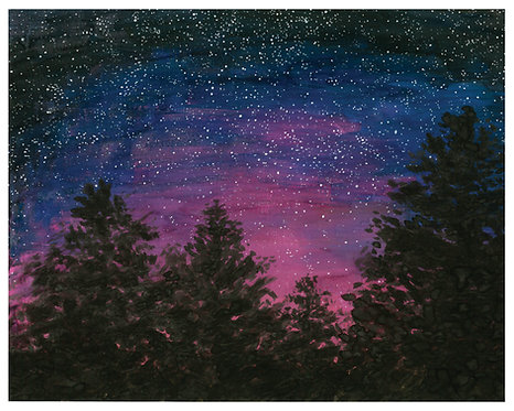 Starry Sky Watercolor Art Print   |   Landscape