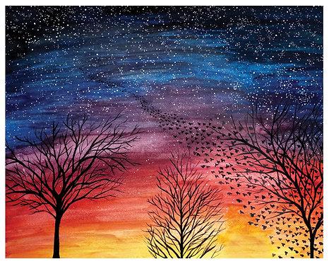 Birds Into the Night Watercolor Art Print   |   Landscape