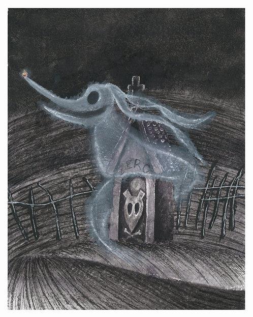Zero Watercolor Art Print   |   Nightmare Before Christmas