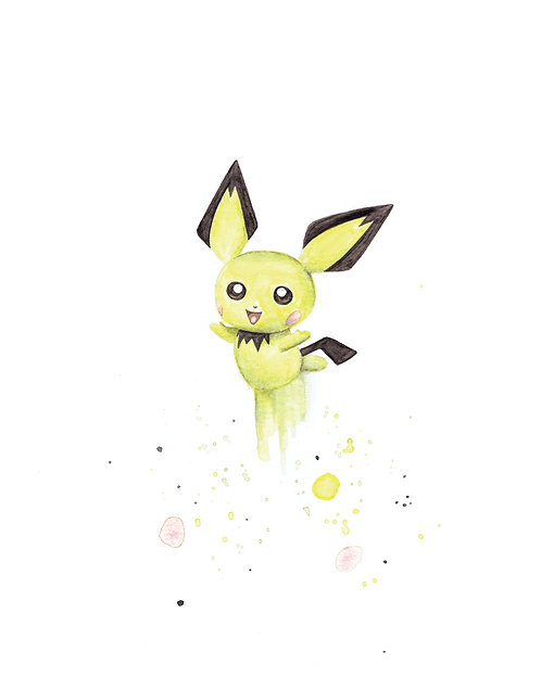 Pichu Watercolor Art Print   |   Pokemon, Nintendo