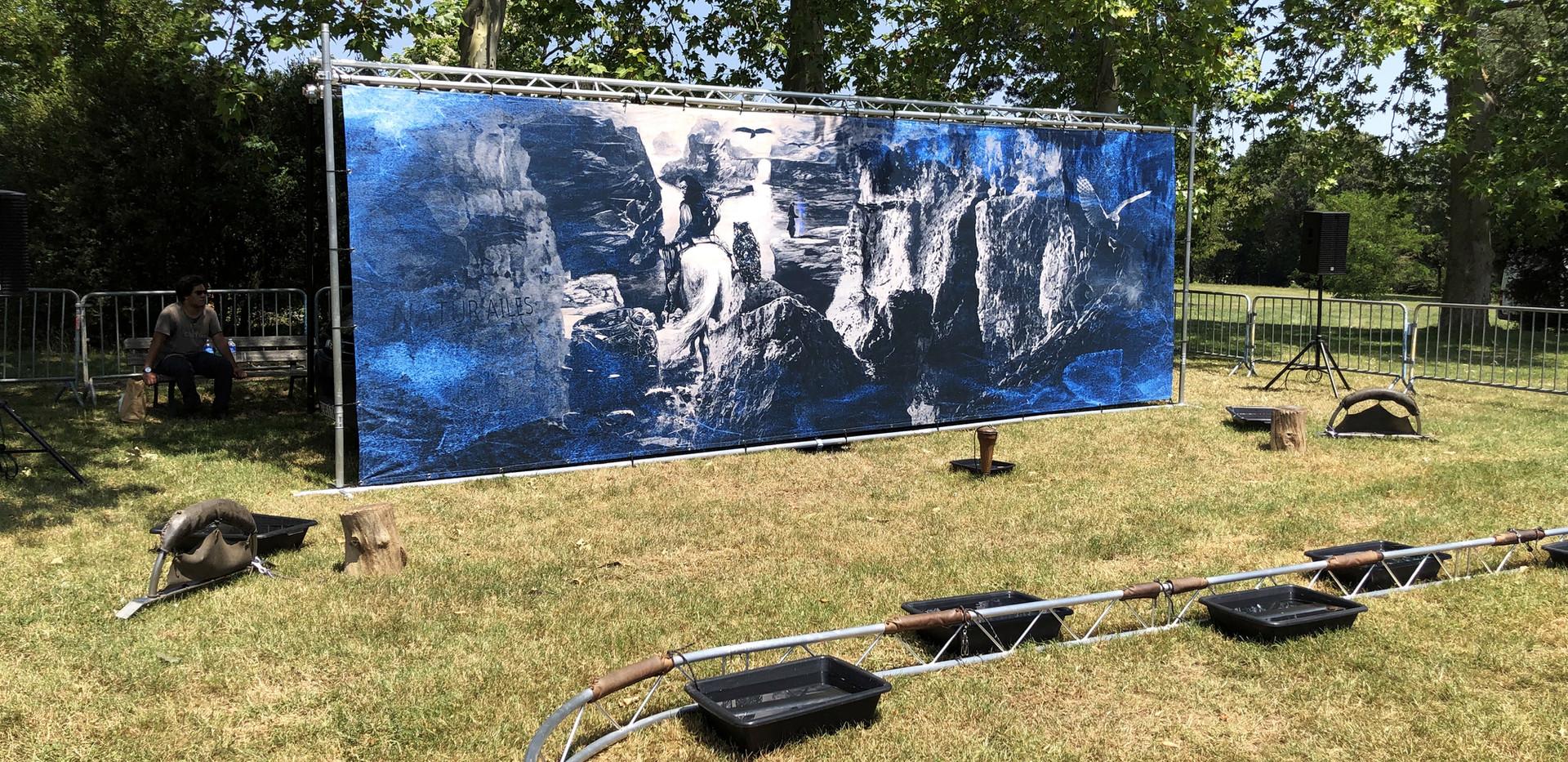 Fresque historique de 2,60 x 8 m sur pont lumières