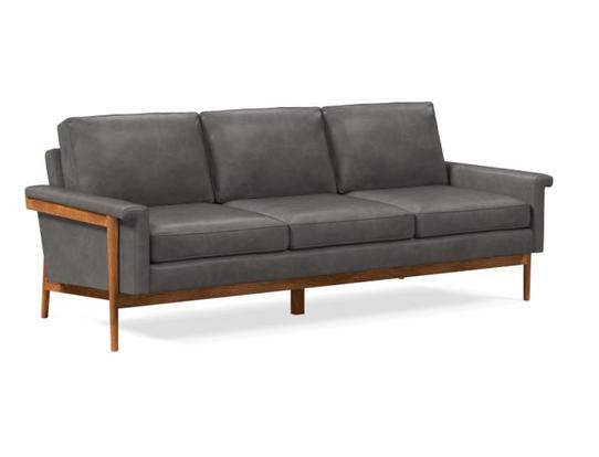 west elm sofa leon ludlow leather gray s