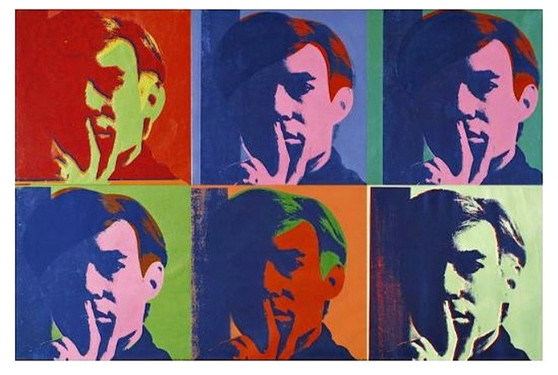 """a set of six self-portraits by andy warhol, c.1967 giclee print, 28""""x 20"""" $61.49 allposters.com"""