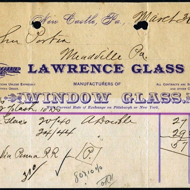 INVOICE FOR LAWERNCE WINDOW GLASS  NEW CASTLE PA 1891