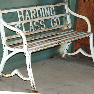 Thiscast iron and strap steel bench