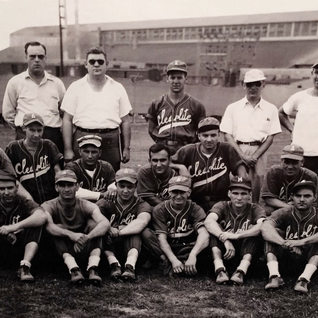 """Clearlite softball team in  Fairmont.  Frank """"Sarge"""" Zannino lower right was carpenter in the wood working shop at Adamston."""