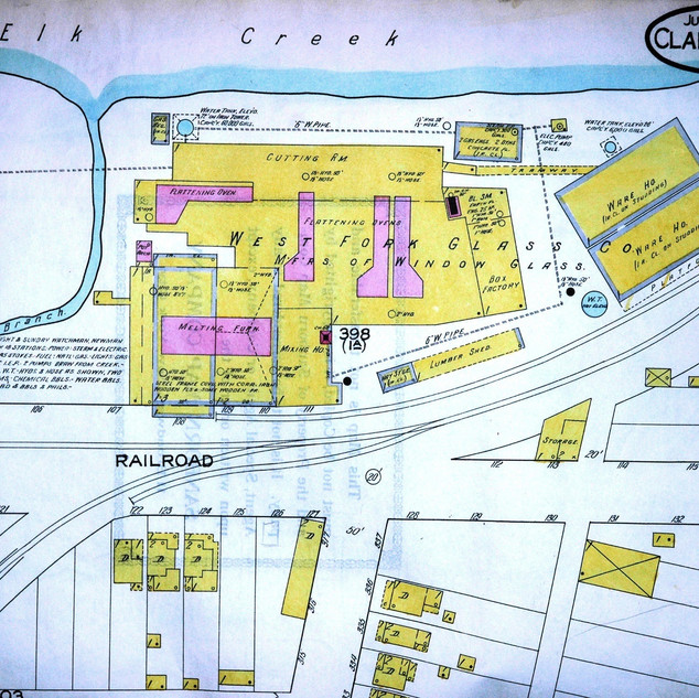 West Fork glass, Sanborn 1916 map