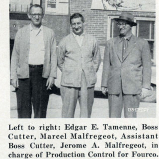 Three glass cutters who went to work for the company. Around 1956.