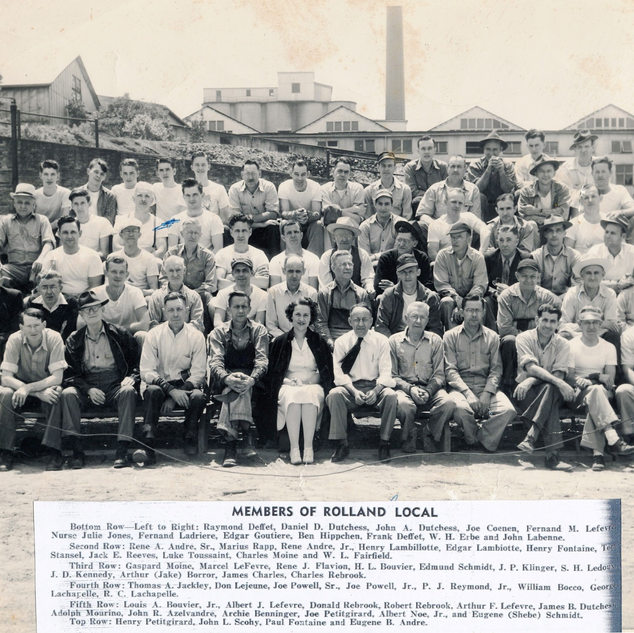 1954 photo of many of the Rolland glass cutters including plant nurse Julie Jones.