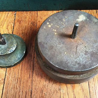A brass klages and a very large steel anvil
