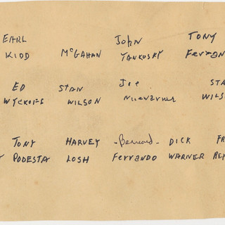 List for company personnel in next photo, around 1969.