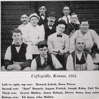 Coffeeville Kansas glass cutters in 1904.