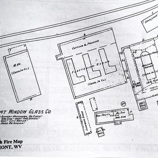 Sanborn map of Fairmont Window Glass Co. 1912.