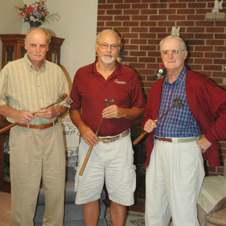 Three glass cutters in 2011 in Bridgeport WV.  L-R Gus Quertinmont 89, Richard Duez 68, and Page Quertinmont.  Page has sinced passed away.