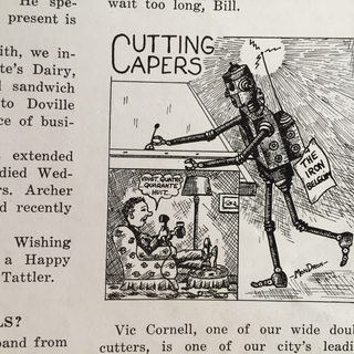 "Cartoon appearing in ""The Glass Cutter"" newspaper."