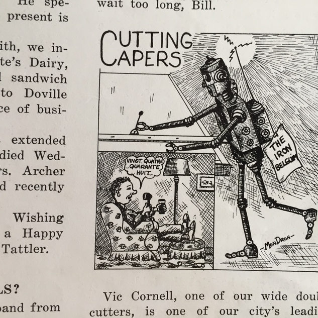 "Cartoon appearing in ""The Glass Cutter"" newspaper."