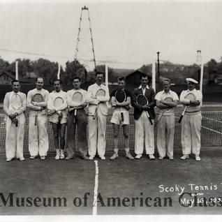 Tennis team in Sistersville WV.  Weston Glass Museum photo.