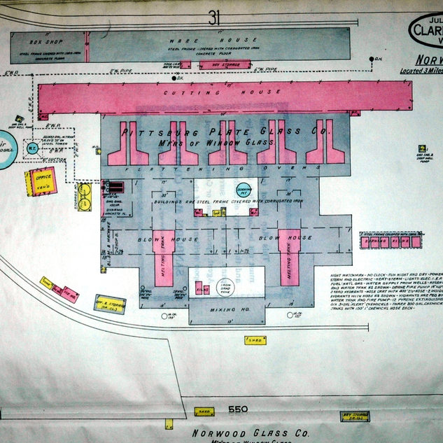 A 1916 Sanborn map of PPG in Norwood