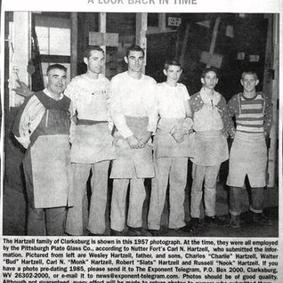 Wesley Hartzell had five sons working as glass cutters at PPG Clarksburg in this 1957 photo.