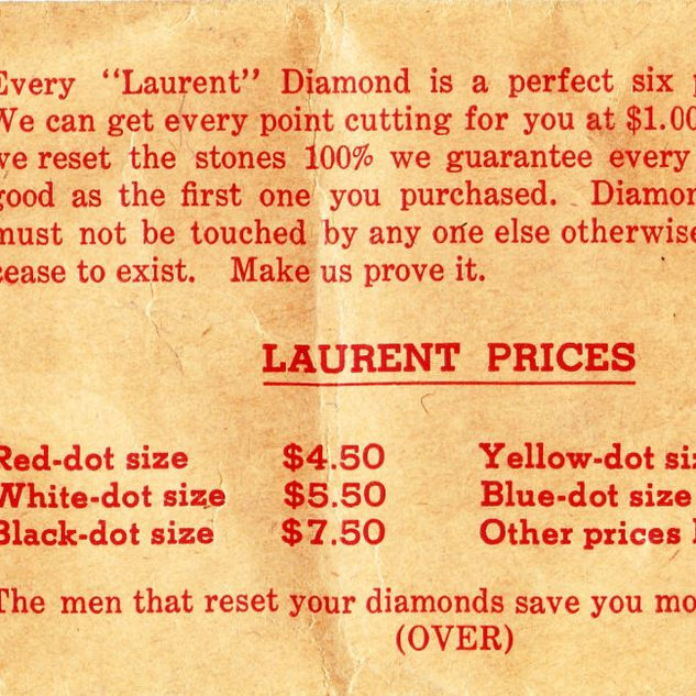 Ray Laurent of Clarksburg WV would sell you diamonds and reset to a new point