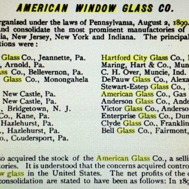 1889 list of glass plants
