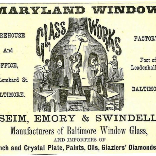 Maryland had considerable window glass making in Baltimore