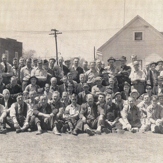 Glass cutters of Adamston Glass around 1948.
