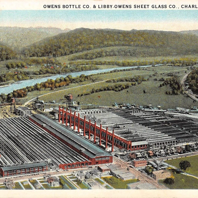 Owens Bottle Company left and the sheet glass company right, before 1930.