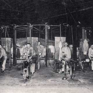 Early photo of the gathers at the Clarksburg co-op plant.  Future Adamston flat glass.