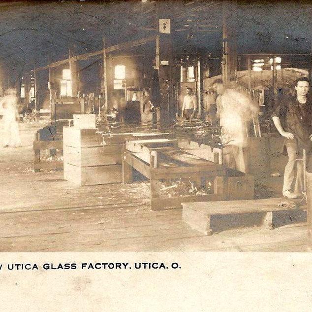 The interior of the Utica Glass Co.