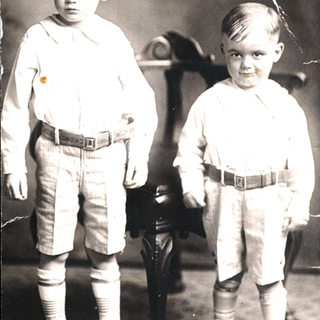Gus and Page Quertinmont in Buchannon WV around 1929.  These two brothers would eventually become glass cutters at Libbey Owensd Ford, Charleston WV.  There grandfather was part owner of the Equitable Window Glass plant in Buchannon.