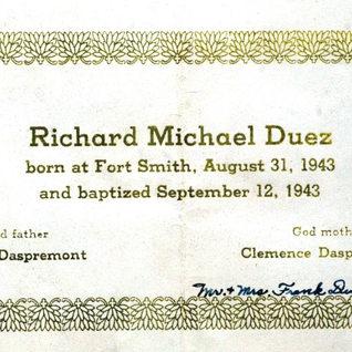 Document of baptism 1943.